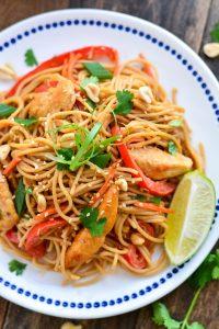 Thai Chicken Peanut Noodles   Garnish & Glaze
