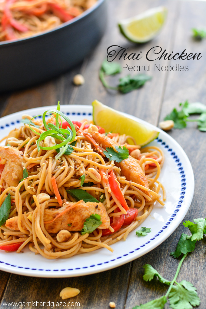 Thai Chicken Peanut Noodles | Garnish & Glaze