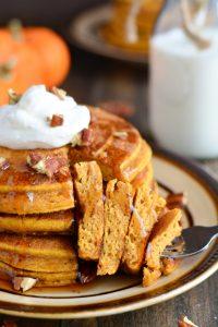 Whole Wheat Buttermilk Pumpkin Pancakes | Garnish & Glaze