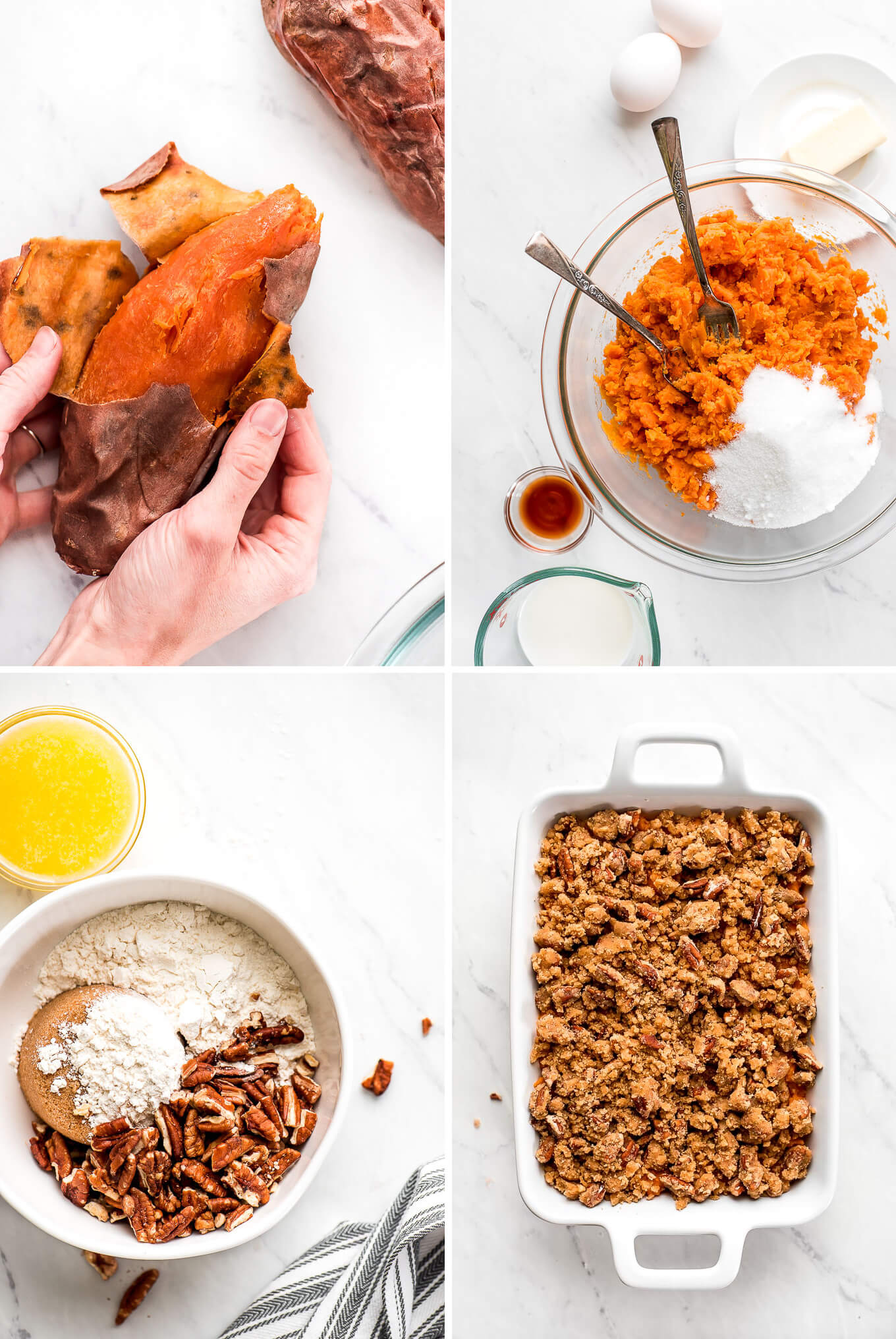 Steps of assembling sweet potato casserole.