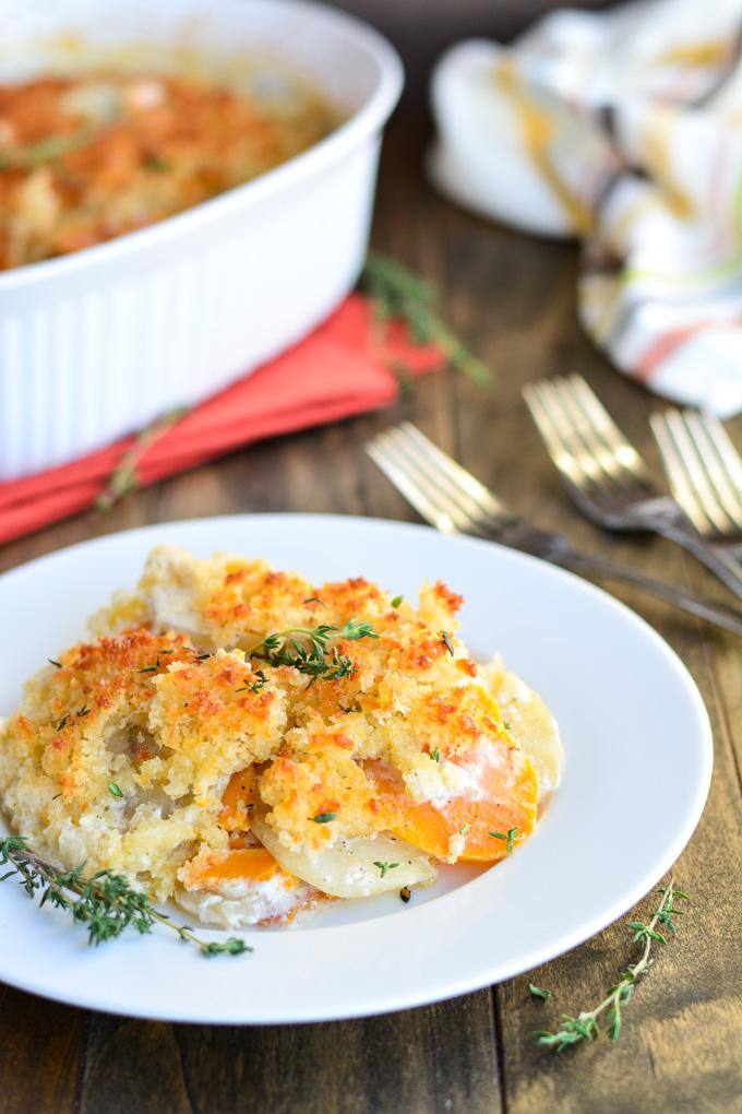 Two Potato Scallop   Garnish & Glaze