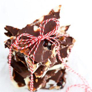 Spiced Pecan Triple Chocolate Bark