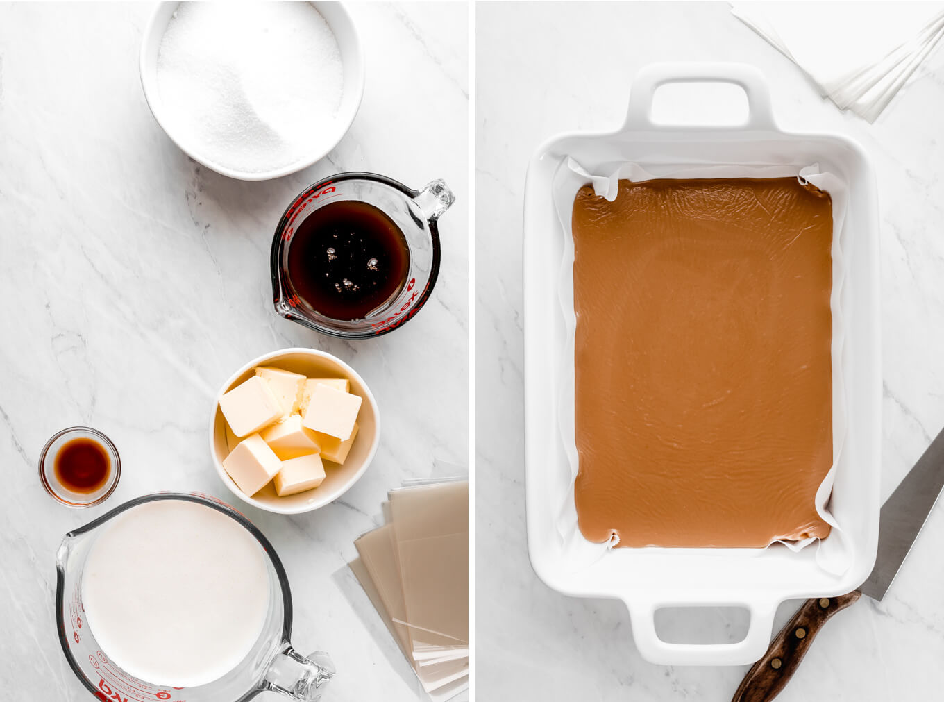Sugar, dark corn syrup, cubed butted, vanilla, and whipping cream on a marble surface. | Caramel in a white pan and knife at the side.