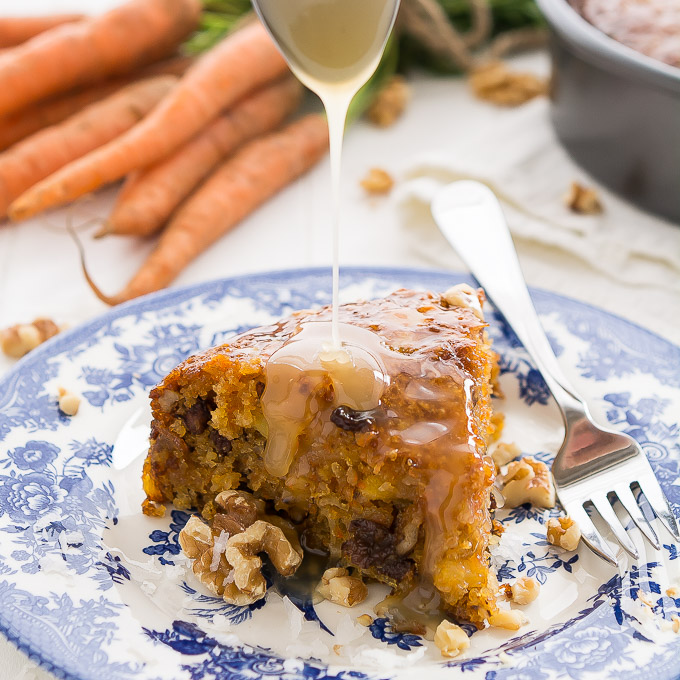 This super moist Warm Caramel Carrot Cake drenched in buttery caramel syrup with have your guests oohing and aahing with the first bite!