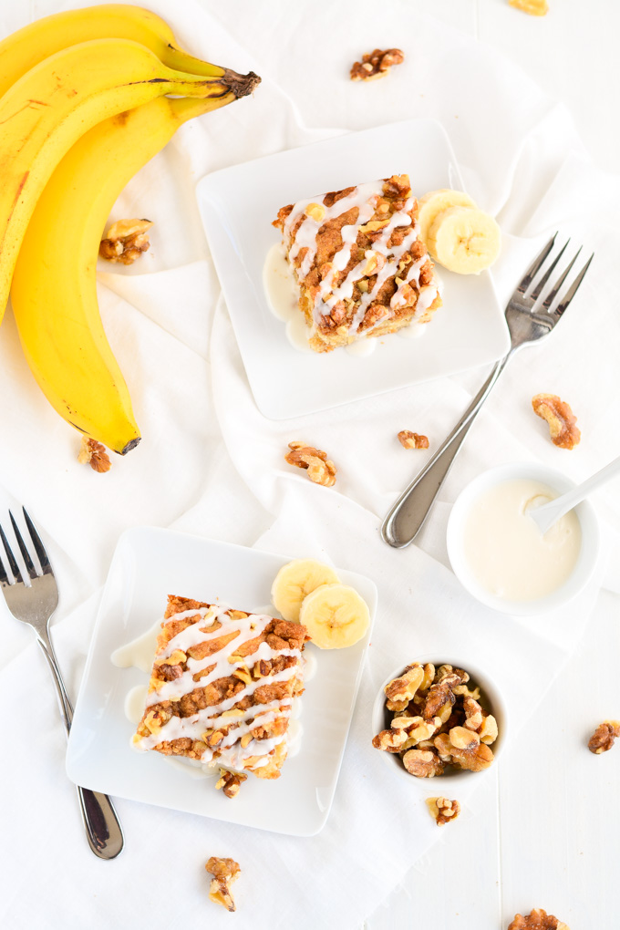 Banana Coffee Cake- A great way to use up those over ripe bananas! | Garnish & Glaze