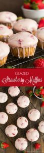 Soft and tender Glazed Strawberry Muffins are the perfect sweet treat to share on Valentine's Day.