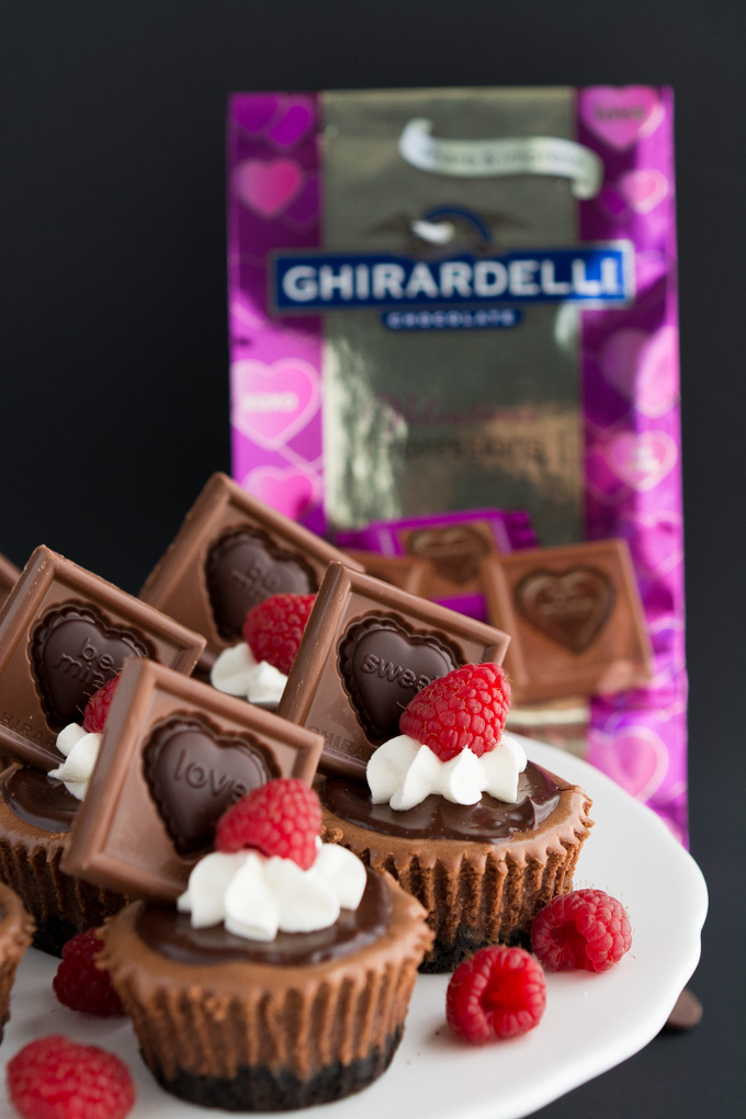 Mini Triple Chocolate Cheesecakes- The perfect rich chocolate Valentine's Day treat | Garnish & Glaze