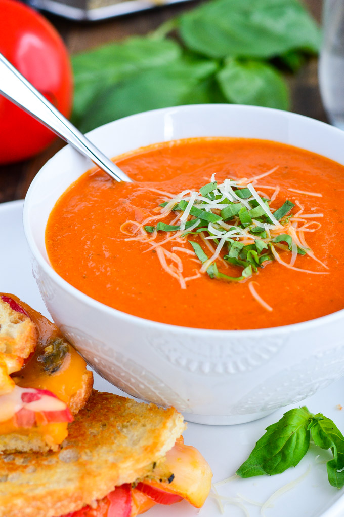 Tomato Basil Soup Cream Of Tomato Soup With Garnish