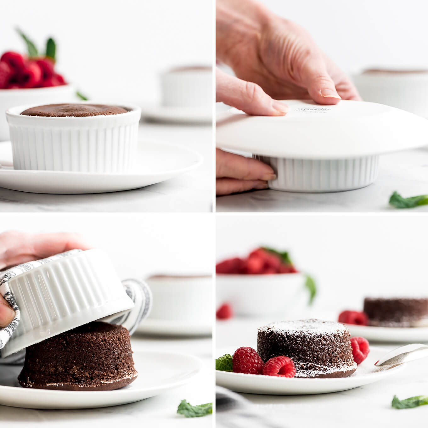 Process shots of removing a chocolate lava cake from a ramekin.
