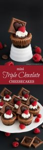 """These rich, smooth, and creamy Mini Triple Chocolate Cheesecakes are the perfect way to say """"I love you!"""" this Valentine's Day."""