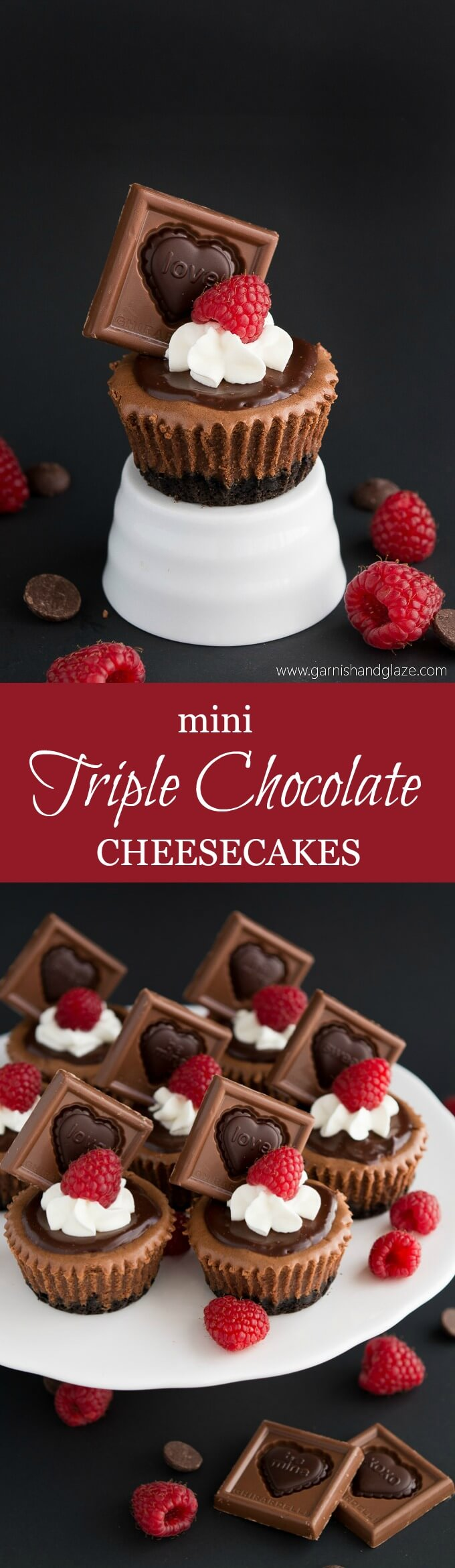 These rich, smooth, and creamy Mini Triple Chocolate Cheesecakes are the perfect dessert for chocolate lovers!