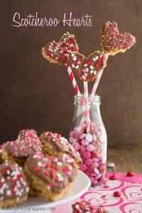 Scotcheroo Hearts- Peanut butter Rice Krispies dipped in chocolate and butterscotch | Garnish & Glaze