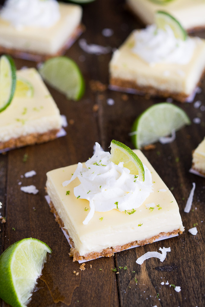 Coconut Key Lime Cheesecake Bars | Garnish & Glaze