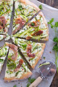 Asparagus Ribbon Pizza   Garnish & Glaze