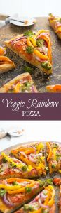Veggie Rainbow Pizza- a healthy festive meal for St. Patrick's Day or Meatless Monday!
