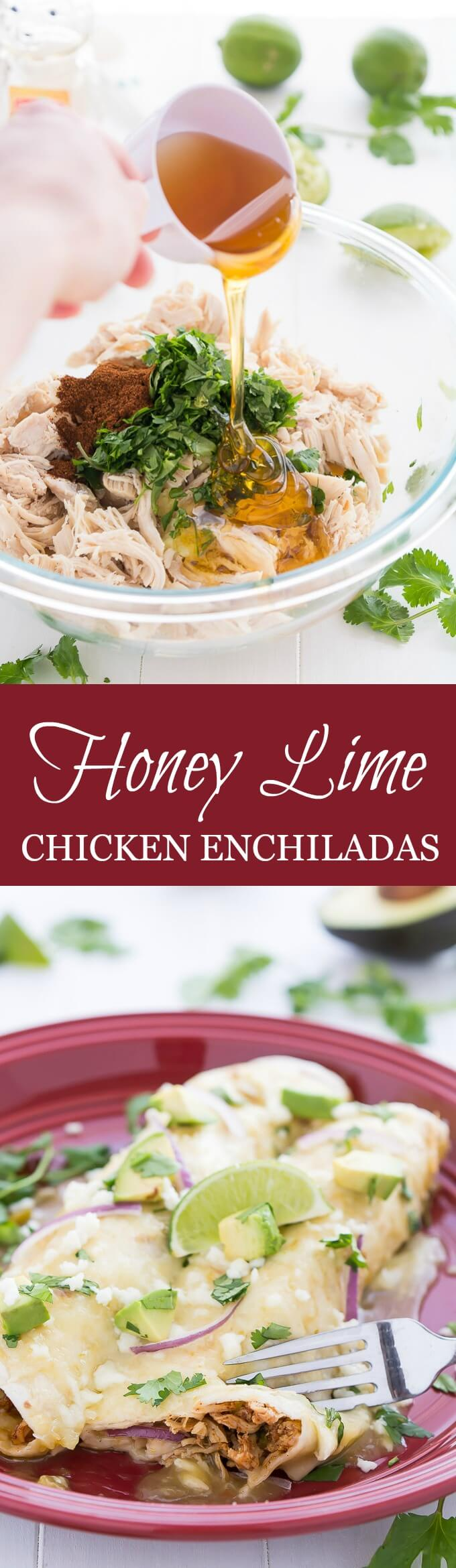Comforting and flavorful Honey Lime Chicken Enchiladas are an easy dinner that the whole family will love!