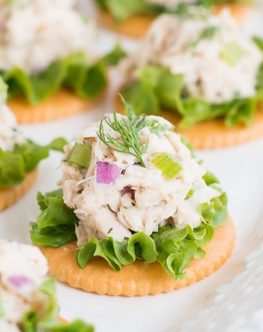Make Tuna Salad on Crackers for a high protein, refreshing, and easy lunch.