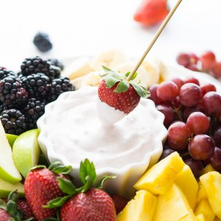 Fruit dip made with Cool Whip Lite and low-fat yogurt.