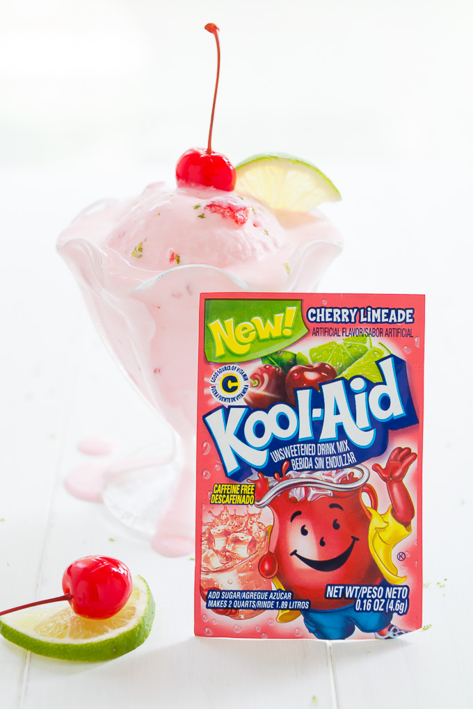 Cherry Limeade Ice Cream made using Kool-Aid is an easy and refreshing fruity dessert that the whole family will love.