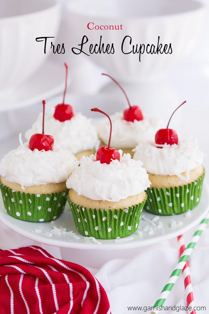Vanilla cupcakes infused with three milks and topped with homemade whipped cream, coconut, and cherries.