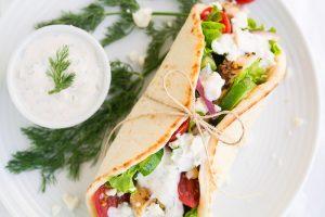 Easy Greek Chicken Gryos with homemade Tzatziki Sauce