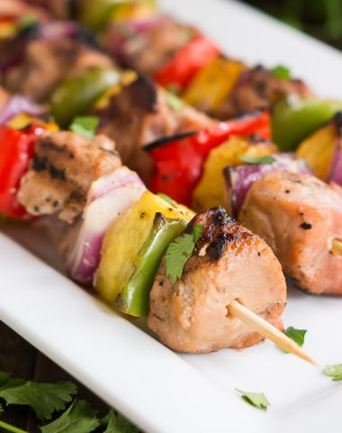 Easy Teriyaki Pork Kabobs made with extra lean and tender Hormel's premarinated pork tenderloin.