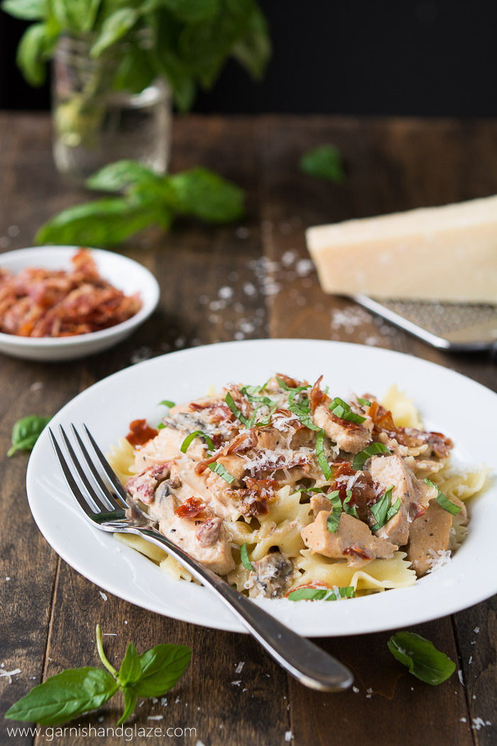 Make the Macaroni Grill classic at home- chicken, mushrooms, sun dried tomatoes, Parmesan cheese, basil, and a creamy sauce. at PenneyLane.com