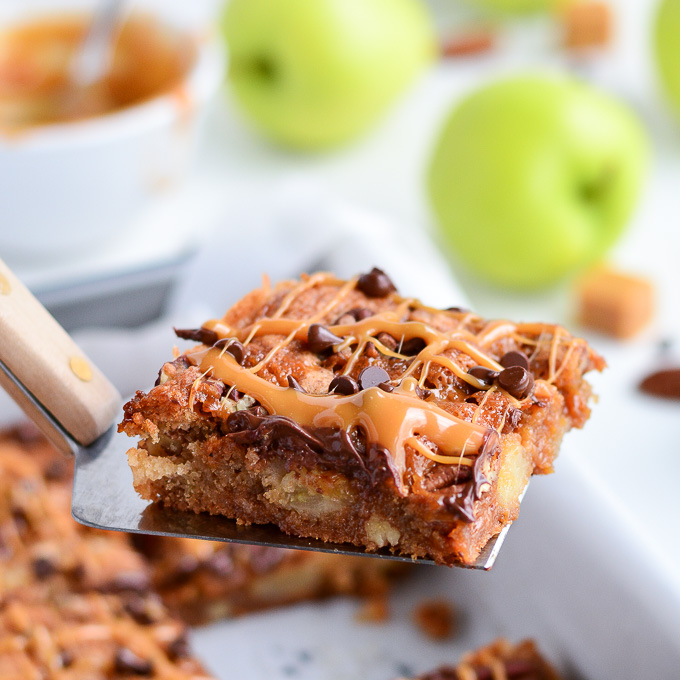 Rich ooey gooey Caramel Apple Blondies