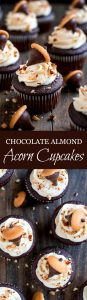 Celebrate Autumn with these cute Chocolate Almond Acorn Cupcakes topped with almond buttercream and an acorn made of a Vanilla Wafer and almond Kiss.