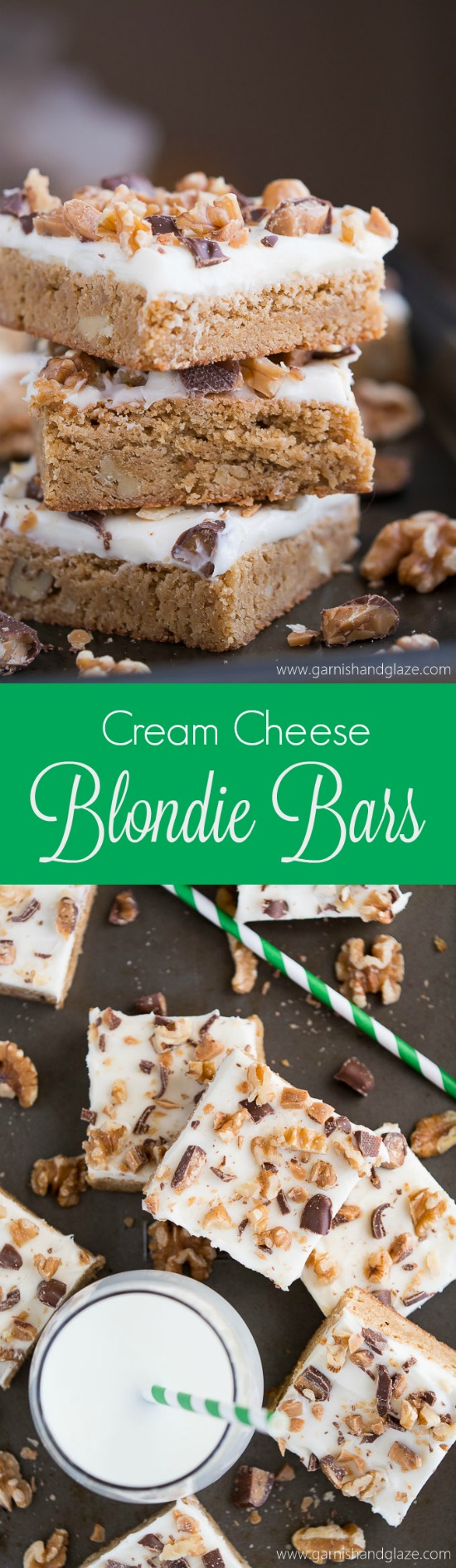 With a brown sugar brownie bottom, cream cheese frosting, and walnuts & Heath on top, Cream Cheese Blondie Bars are nothing short of addicting!