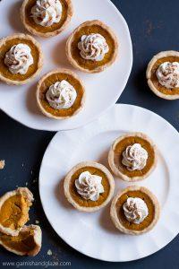 Mini Pumpkin Pies are miniature portions of the beloved Thanksgiving pumpkin pie.