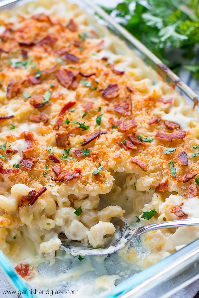5 Cheese Mac & Cheese topped with extra cheese, crispy Panko bread crumbs, and bacon is the ultimate comfort food!
