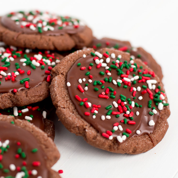 Chocolate Frosted Christmas Cookies - Garnish & Glaze