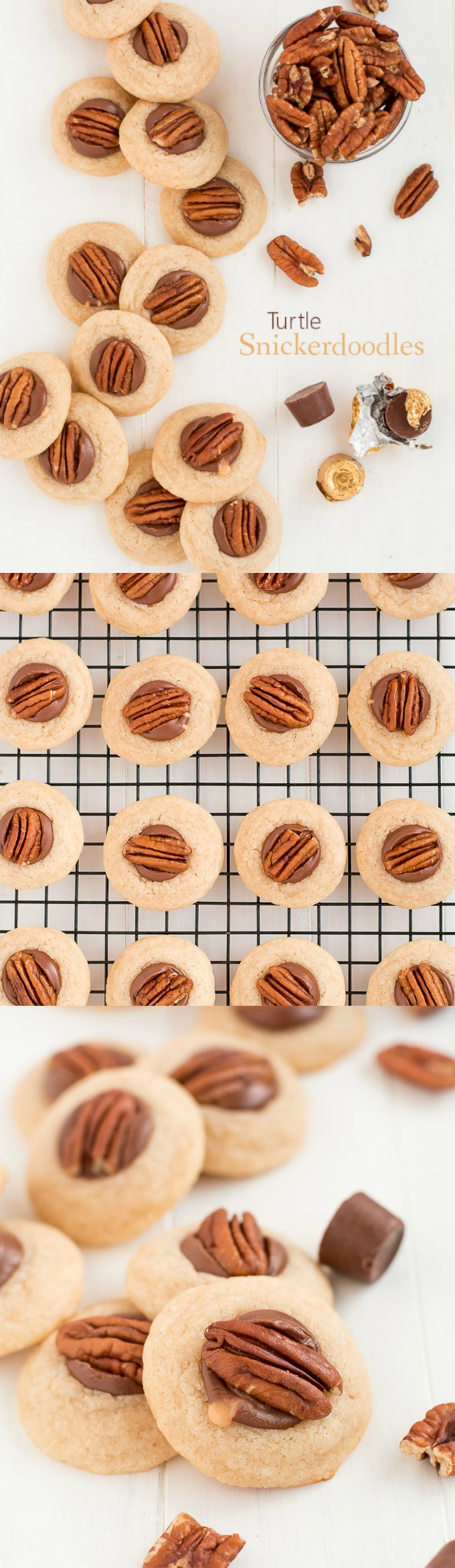 Turtle Snickerdoodles are soft cinnamon cookies topped with chocolate caramel Rolos and a pecan. Perfect for your Christmas cookie plate!