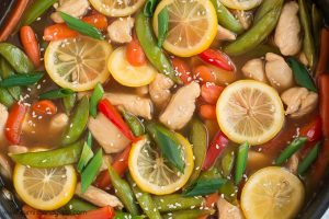 Take 30 minutes to get this veggie filled Lemon Chicken Stir-Fry on your table for family dinner tonight!