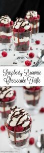 """Nothing says """"love"""" like these Raspberry Brownie Cheesecake Trifles made with rich chocolate from-scratch chocolate chip brownies, easy no-bake cheesecake filling, and fresh sweet raspberries."""