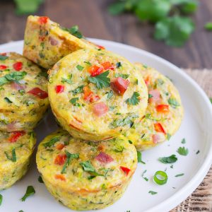 These veggie packed, high protein Mini Zucchini Quinoa Frittatas are perfect for Sunday brunch or an easy grab-and-go healthy breakfast.