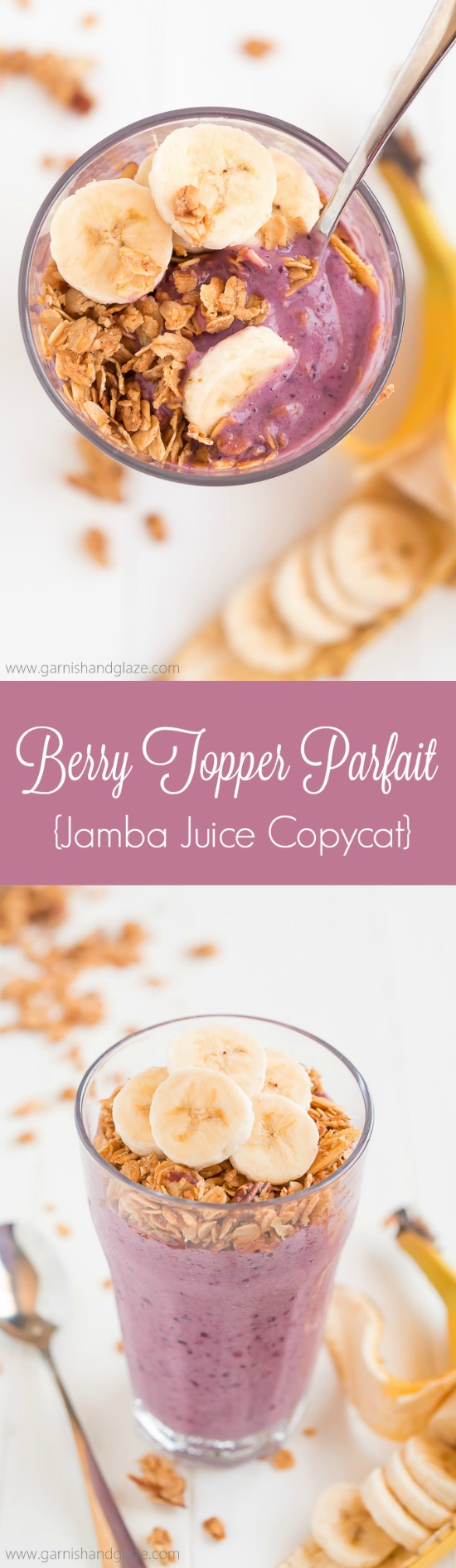 Take 3 minutes to throw together this 5-ingredient Berry Topper Parfait, a Jamba Juice Copycat recipe, for a healthy, refreshing, and filling breakfast or snack.
