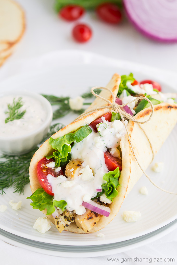 Greek Chicken Gyros With Tzatziki Sauce Garnish Glaze