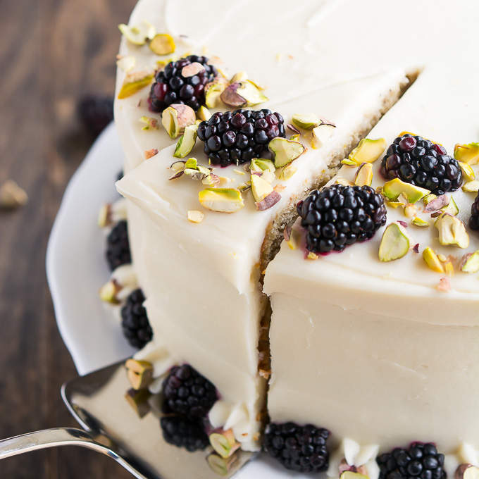 Pistachio Cake with Honey Cream Cheese Frosting - Garnish & Glaze