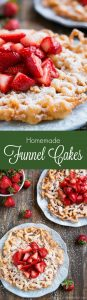 Bring the state fair to your home with these crisp and tender FUNNEL CAKES coated in powdered sugar and fresh strawberries!