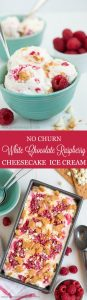 Don't have an ice cream maker? No worries! Throw together this ultra creamy No Churn White Chocolate Raspberry Cheesecake Ice Cream for a yummy summer treat!
