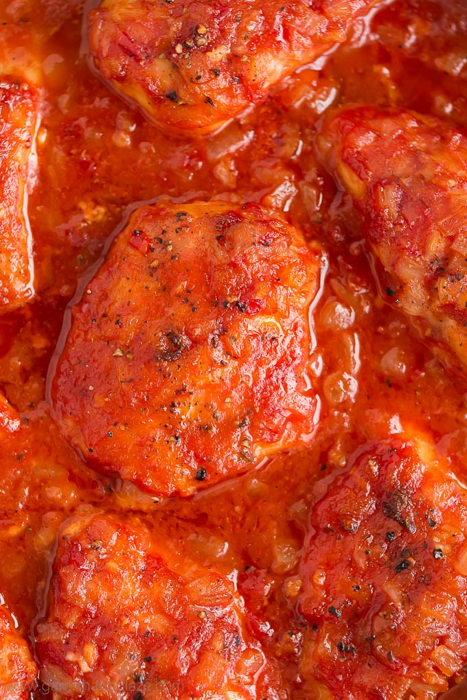 Close up of the top of Napa Valley Chicken in sweet tomato onion sauce.