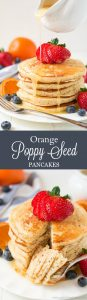 Your weekends just got a whole lot better with these Orange Poppy Seed Pancakes. Top with fresh berries and Orange Syrup and you'll be in heaven.