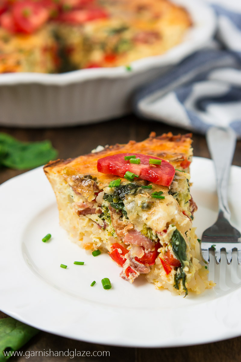 Balance out all the holiday goodies with this delicious, better-for-you Gluten-Free Bacon Veggie Quiche for breakfast or dinner!