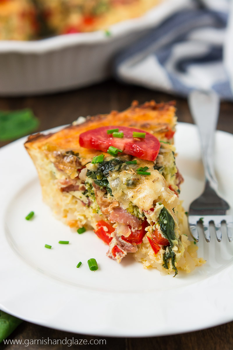 Balance out all the holiday goodies with this delicious, better-for-you Gluten-Free Bacon Veggie Quiche for breakfast or dinner.