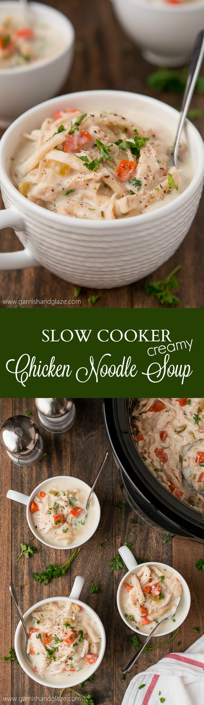 Add a little bit of homemade goodness to your life with this Slow Cooker Creamy Chicken Noodle Soup!#Reames #HomemadeGoodness #ad