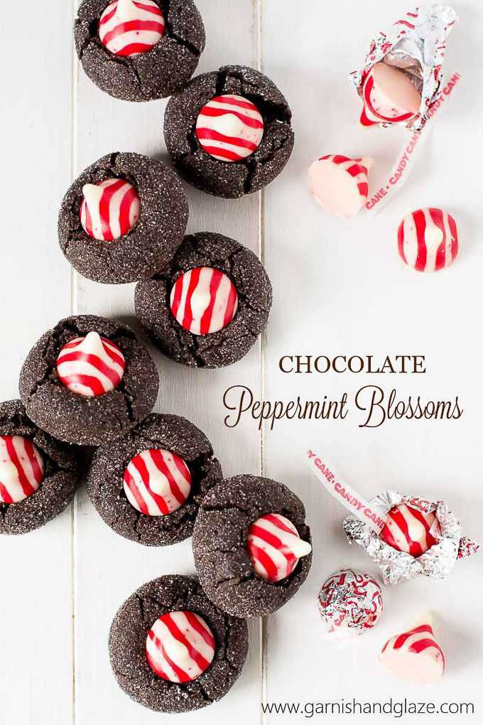 Chocolate Peppermint Blossoms have a soft rich dark chocolate cookie base and are topped with a sweet peppermint kiss. They'll be the most beautiful cookie on your Christmas plate this year!