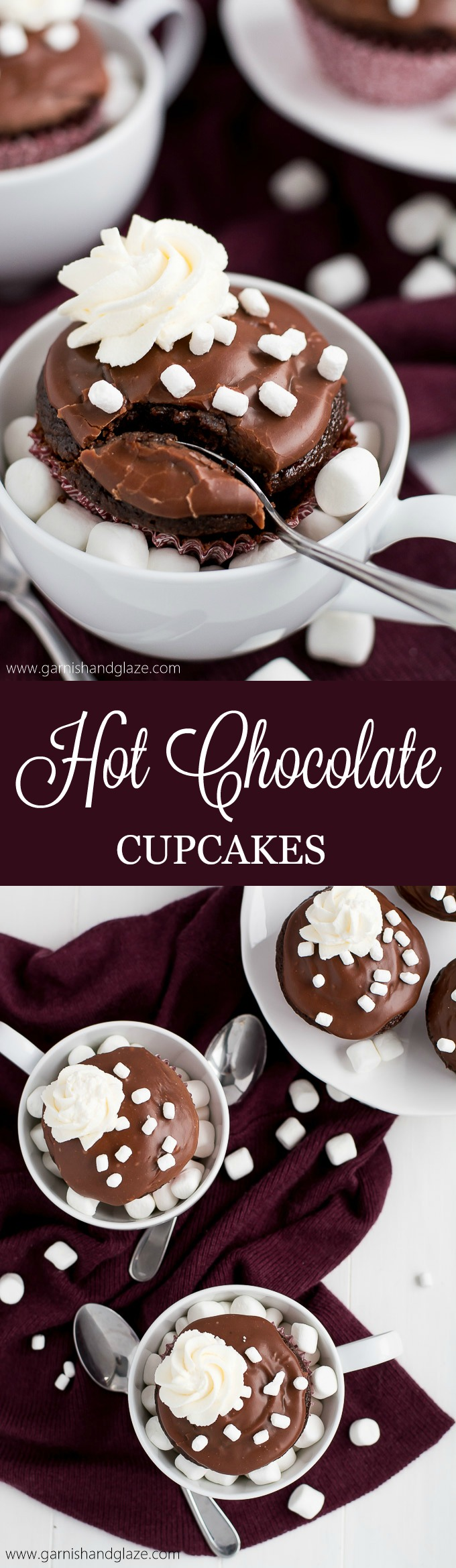 'Tis the season to wrap yourself up in a blanket next to the fireplace with one of these rich and fluffy Hot Chocolate Cupcakes in hand.