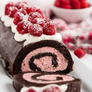 Raspberry Chocolate Swiss Roll